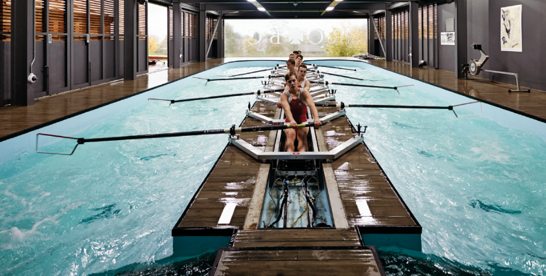 Radley College's Rowing Centre contains a rowing tank that mimics actual river conditions