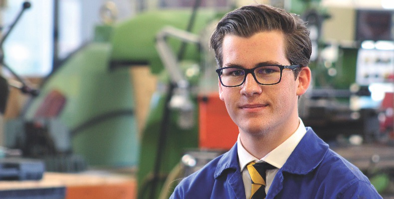 Former Felsted student William Alexander is studying for a degree in engineering on an apprenticeship with technology firm Dyson