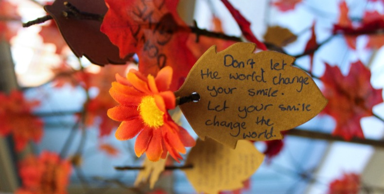 A message on Solihull School's 'tree of encouragement', where pupils are invited to write a message for someone struggling with their mental health