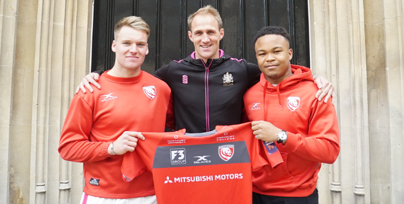 Director of rugby, Olly Morgan, with Jack Clement and Charles Tchen
