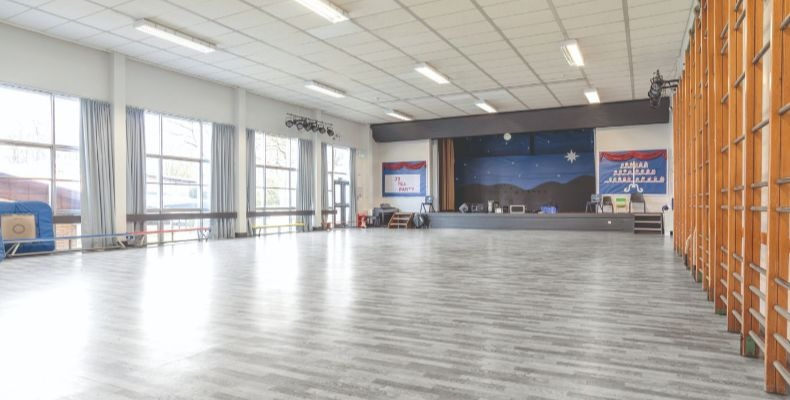 The hall is used for a range of activities including exams and parents' evenings