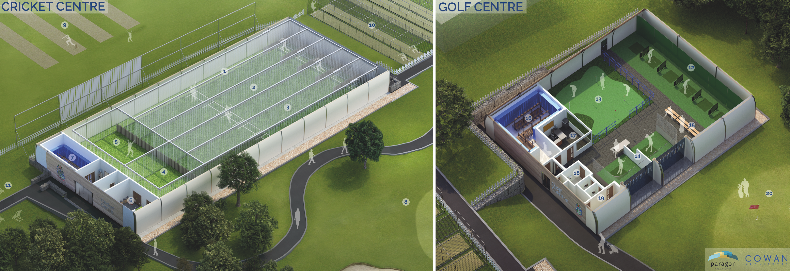 The indoor golf and cricket centres are set to open next month