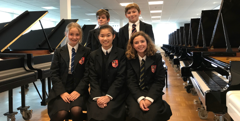 Pupils were given a tour of the Steinway factory in Hamburg