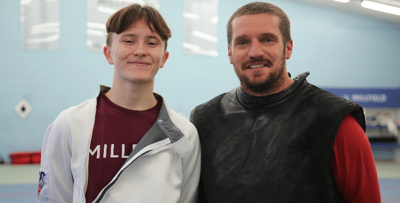 David Williams with Millfield's director of fencing, Tristan Parris, who himself has been selected as a mentor on the scheme