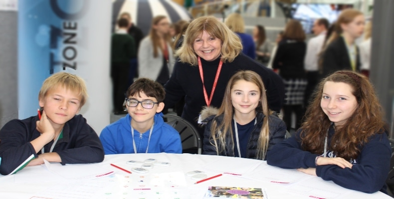 Maggie Philbin with students at TeenTech