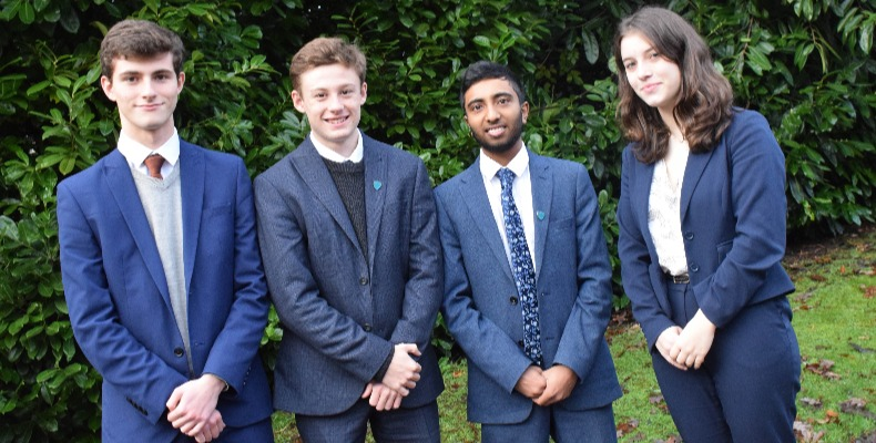 The four pupils volunteer once a week at London Road Community Hospital, feeding and caring for patients