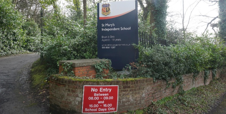St Mary's Independent School in Bitterne Park is currently on lockdown following advice from Public Health England