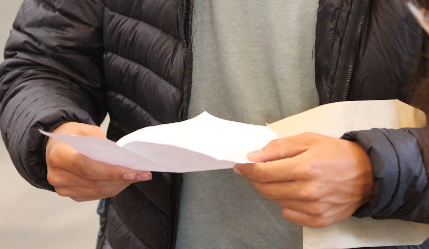 A pupil at Leighton Park School receiving A-level results