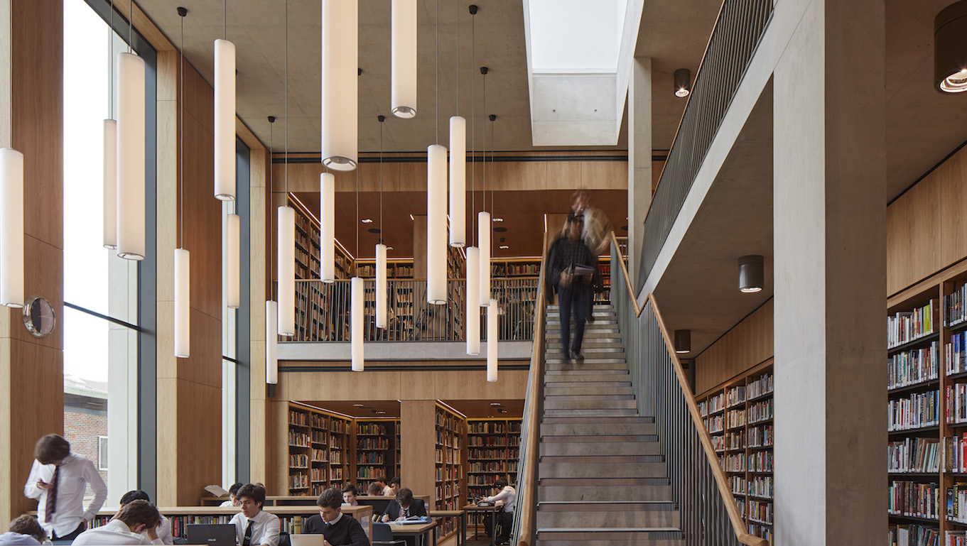 The Kayton Library extends over two floors (Image © Dennis Gilbert/View)