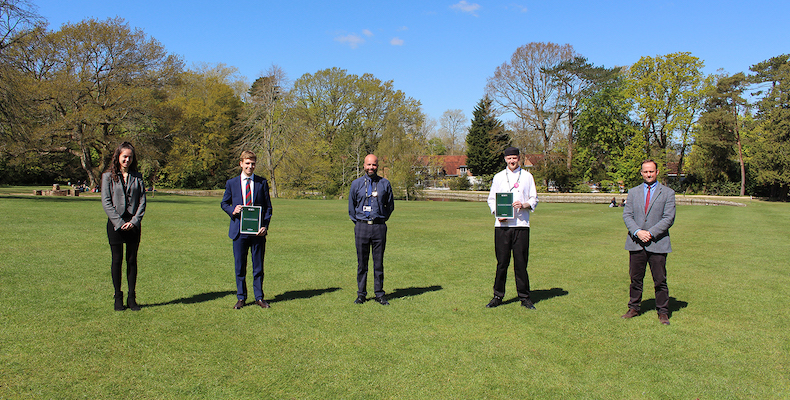 Upper sixth Bede's pupils Jess Frisby and Rodrigo Merlo, Mark Greenfield and Mr Bundy from Holroyd Howe, and Jarrod Taylor from Bede's