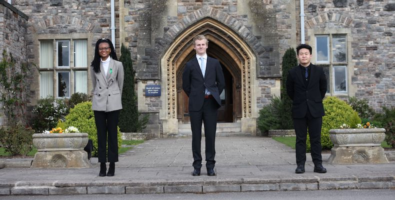 Taunton School students Tricey Agbolu from Ghana, Paul Paclot from France and Jarry Wang from Hong Kong