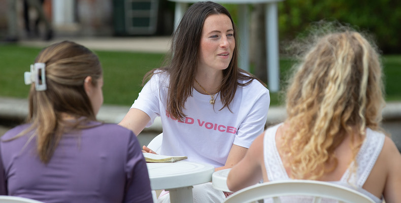 Natasha Eeles, the founder of Bold Voices, met with current A2 pupils at Bryanston