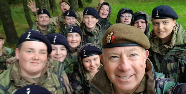 Neil Jurd with cadets